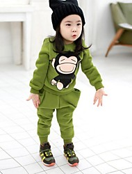 Girl's Green / Orange Clothing Set Cotton Blend Winter / Spring / Fall
