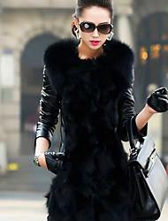 abrigo largo pc025 piel de Nina mujeres