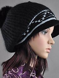 Jewel Embellished Rabbit Hair Knitting Cap Black