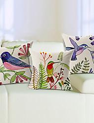 набор 3 яркие птицы хлопок / белья декоративной подушки крышки