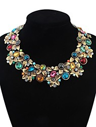 Women's Fancy Two Layers Florals Cluster Bib Statement Necklace
