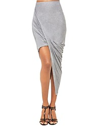 Frauen grau geraffte asymmetrische drapiert sexy Rock (viele Farben)