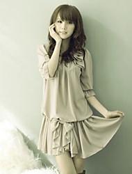 koreaanse elegant gevouwen boog verfraaid chiffon jurk