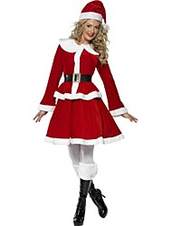 Cosplay Costumes Santa Suits Festival/Holiday Halloween Costumes Coat / Skirt / Belt / Hat Christmas Female Polyester