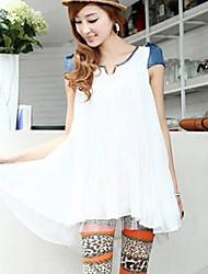 doce splicing jean plissado plissado blusa branca
