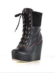 fashion base grossa frente lace-up boots elástico preto