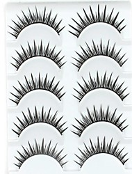 New 5 Pairs European Color Natural Black Crossed Long False Eyelashes Lovely Eyelash for Daily Makeup