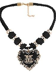 laço em forma de coração m carta colhedores pendentes colar de pérola negra (1pc)
