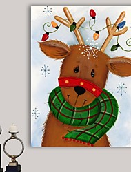 Christmas Decoration Stretched Canvas Print Art Cartoon Reindeer with Lights by Beverly Johnston