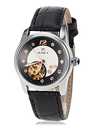 Women's Simulated Diamond Watch Automatic self-winding Leather Band Black White Blue Red