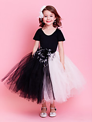 Kids' Dancewear Dresses / Tutus Children's Cotton / Tulle Feathers /Fur / Sash/Ribbon Sleeveless NaturalXS:51cm S:58cm M:63cm L:68cm