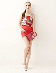 Women's Casual/Daily Simple Spring / Summer / Fall T-shirt,Print Sleeveless Red / Yellow Silk / Polyester Thin