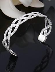 Plaqué argent 925 bracelet manchette de bracelet de femmes filet en forme
