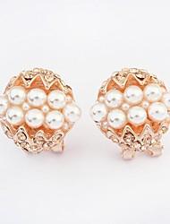Stud Earrings Pearl Imitation Pearl Rhinestone Simulated Diamond Alloy Fashion Screen Color Jewelry 2pcs