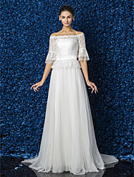 Lanting Bride® A-line / Princess Petite / Plus Sizes Wedding Dress - Elegant & Luxurious / Glamorous & Dramatic Floral Lace Court Train