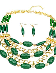 contas de vidro verdes conjunto de jóias