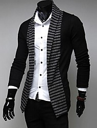 Men's New Spring Fashion Stripe Color Leisure Long Sleeved Knit Cardigan