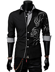 lesen dos homens camisa de colarinho moda dragão chinês estilo de impressão de manga comprida camisa casual o