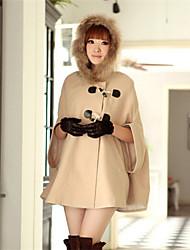 moda inverno cappotto del collare causale mantello di pelliccia delle donne qinshang
