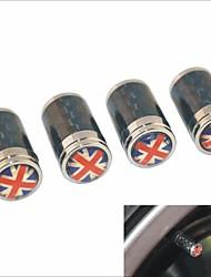 DIY Carbon Fiber British Flag Pattern Universal Tire Air Valve Caps--Black(4PCS)