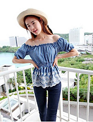 Short Sleeve Stripe Printing Off Shoulder Blouse Blue