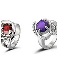 Gorgeous Rhinestones Ring Alloy Plated-Set of 2(Random Color)
