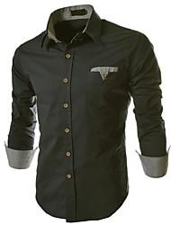 Hongda  Men's  Check Pattern Decoration Shirt