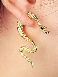 Fashion Rhinestone Snake Stud Earrings Random Color