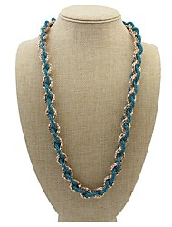 Women's Elegant Openworkd Alloy Weaved Bib Statement Long Necklace