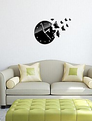 Wall Clock Stickers Wall Decals,Fashion Butterfly 3D Mirror Acrylic Wall Stickers