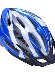 высокой воздухопроницаемостью PC + EPS черный велосипедный шлем со съемным солнцезащитный козырек (21 отверстия) - синий + серебро