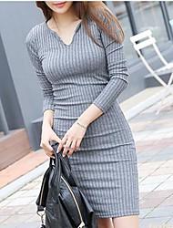tamanho grande v vestido de inverno pescoço das mulheres