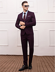 Dark Navy&Red Polyester Slim Fit Three-Piece Suit
