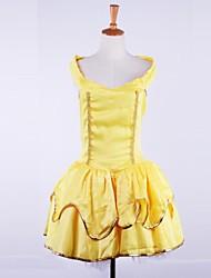 Baer princesa sin mangas&amarillo sin respaldo traje de cosplay satén