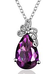 cadeaux rétro womans sont parties à haute teneur arc mauve cristaux de zircon pendentif de charme