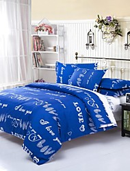 Mingjie Letters Blue Sanding Bedding Sets 4pcs Duvet Cover Sets Bed Linen China Queen Size and Full Size