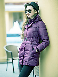 TS Stand Collar Hoodied Belted Down Jacket