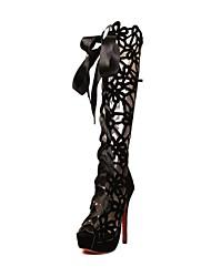 Zapatos de mujer - Tacón Stiletto - Punta Abierta / Plataforma - Sandalias / Botas - Casual - Semicuero - Negro / Rojo