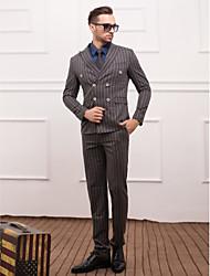 polyester gris slim fit costume trois-pièces