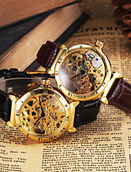 CJIABA Men's Gold Skeleton Leather Band Automatic Self Wind Dress Watch (Assorted Colors) Wrist Watch Cool Watch Unique Watch