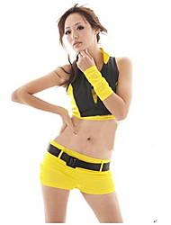 moda sem mangas ternos bare-umbigo amarelo