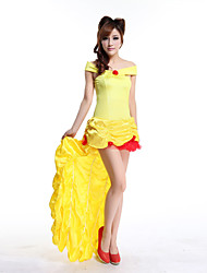 Beauty and the Beast Belle Princess Yellow Satin Evening Gown Dress Women's Halloween Costume
