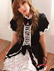 Cosplay Costume Stand Collar Maid Dress Black