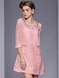 Women's Pink Vintage Casual Knitwear Lined  Long  Sleeve Dresses