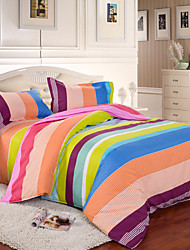 Mingjie® Rainbow Stripes Queen and Twin Size Sanding Bedding Sets 4pcs for Girls and Boys Bed Linen China Wholesale