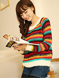 Round Collar Colorful Stripe Long Sleeve Sweater
