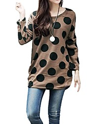 Women's Polka Dot Knitted Long Slouchy T-shirt