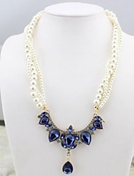Z&X®  European Style Luxurious Imitation Pearl Strands Statement Necklace (3 Colors Options: Blue, Champagne, White)