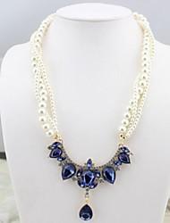 z&X® estilo europeu luxuoso imitação de pérolas vertentes colar declaração (3 opções de cores: azul, champagne, branco)