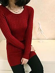 Frauenrundhals Langarm-Pullover